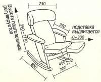 Чертеж и размеры кресла