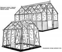 Деревянная и алюминиевая теплица шатрового типа