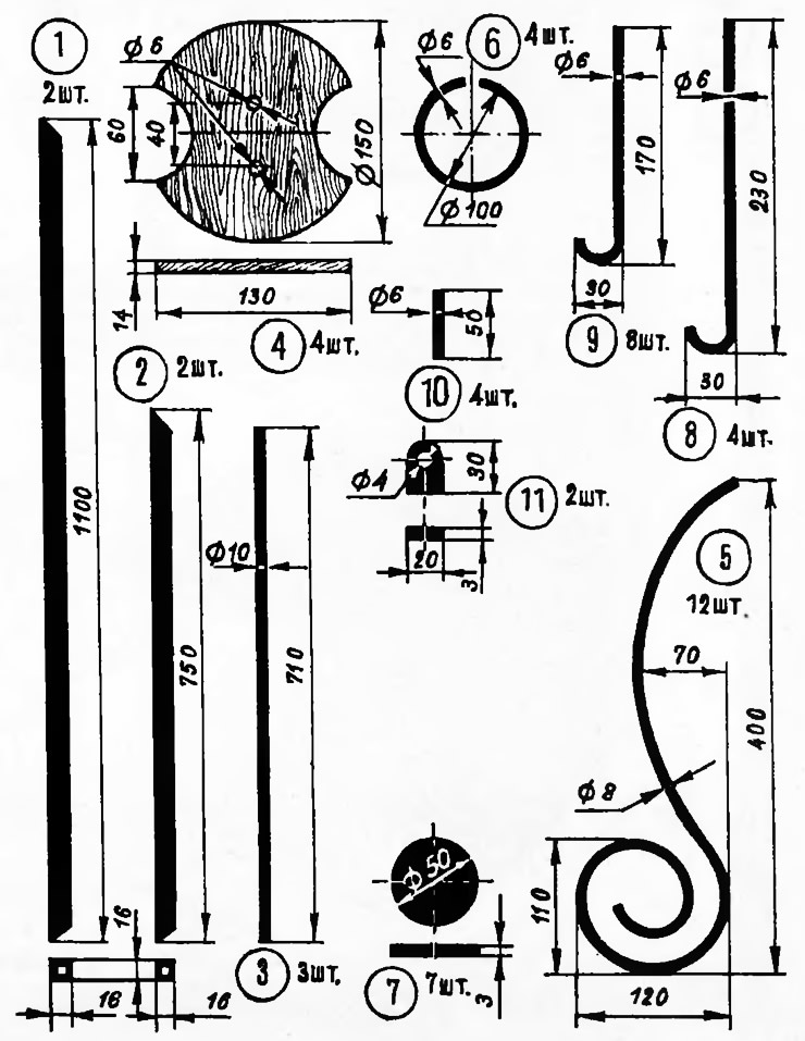 Детали и размеры вешалки