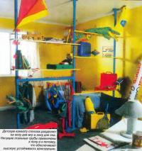 Детскую комнату стеллаж разделяет на зону для игр и зону для сна