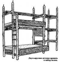 Двухъярусная детская кровать и набор полок