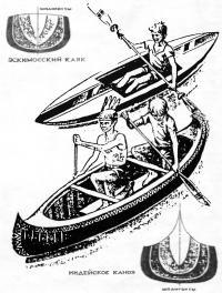Эскимосский каяк и индейское каноэ