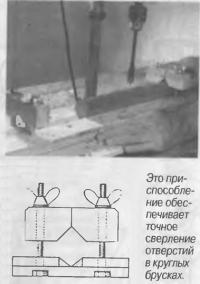 Это приспособление обеспечивает точное сверление отверстий в круглых брусках