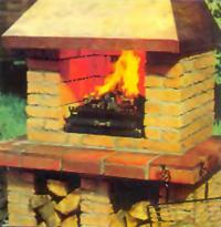 Гриль-камин с зажженным костром