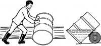 Катание бочки по бревну под наклоном
