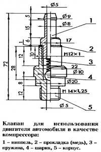 Клапан для использования двигателя автомобиля в качестве компрессора