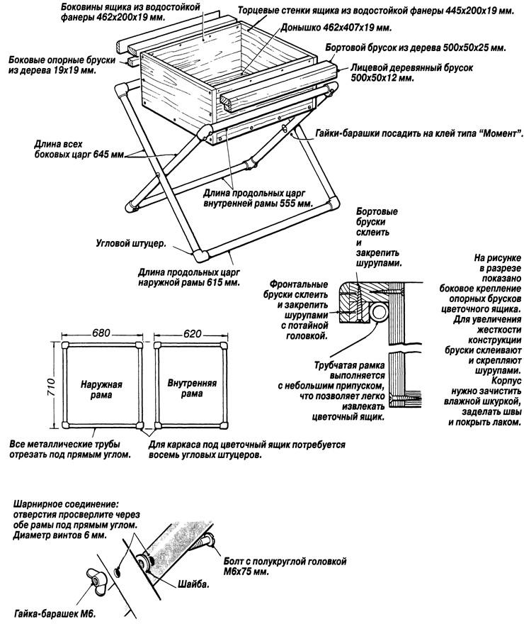 Конструкция цветочного ящика