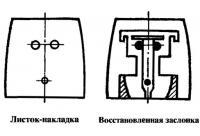 Листок-накладка и восстановленная заслонка