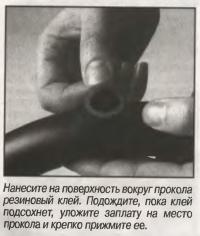Нанесите на поверхность вокруг прокола резиновый клей