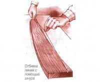 Отбивка линии с помощью шнура