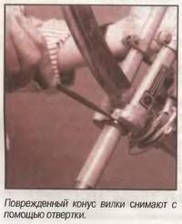 Поврежденный конус вилки снимают с помощью отвертки