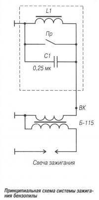 Принципиальная схема системы зажигания бензопилы