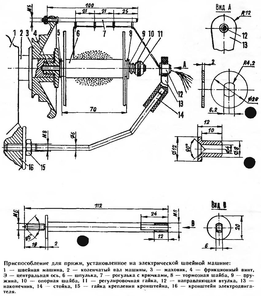 Приспособление для пряжи, установленное на электрической швейной машине