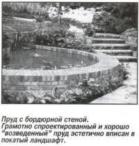 Пруд с бордюрной стеной
