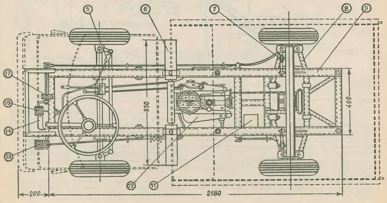 Расположение элементов и размеры сверху