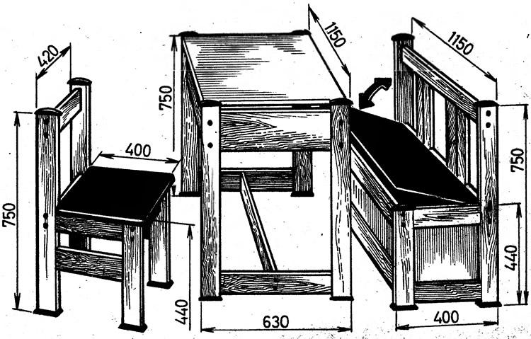 Размеры стола и сидений