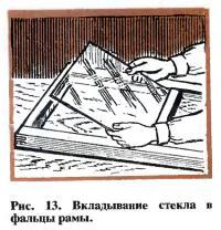 Рис. 13. Вкладывание стекла в фальцы рамы
