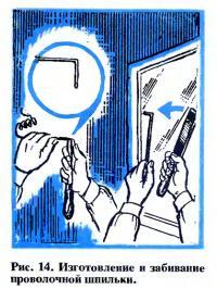 Рис. 14. Изготовление и забивание проволочной шпильки