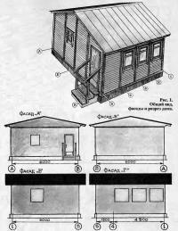 Рис. 1. Общий вид, фасады и разрез дома