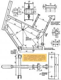 Рис. 1. Рама микромотоцикла и детали колеса