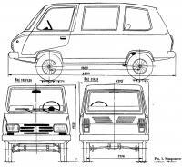 Рис. 1. Размеры микроавтомобиля «Чибис»