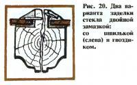 Рис. 20. Два варианта заделки стекла двойной замазкой