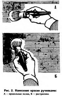 Рис. 2. Нанесение краски ручниками