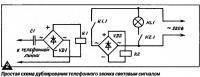 Рис. 2. Простая схема дублирования телефонного звонка световым сигналом