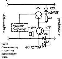 Рис. 2. Сигнализатор к адаптеру переменного тока