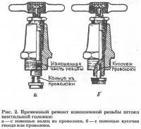 Рис. 2. Врученный ремонт изношенной резьбы штока вентильной головки