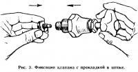 Рис. 3. Фиксация клапана с прокладкой в штоке