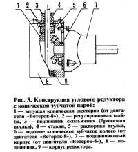 Рис. 3. Конструкция углового редуктора с конической зубчатой парой