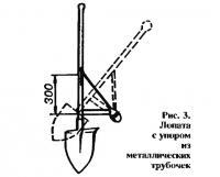 Рис. 3. Лопата с упором из металлических трубочек