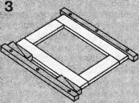 Рис. 3. Опрессовка рамы с помощью брусков и клиньев