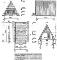 Рис. 3. Основные проекции и планировка садового домика