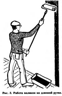 Рис. 3. Работа валиком на длинной ручке