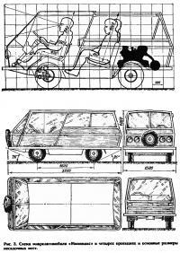 Рис. 3. Схема микроавтомобиля «Минимакс» в четырех проекциях