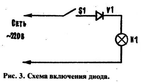 Рис. 3. Схема включения диода