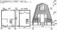 Рис. 4. Садовый домик (А — планировка, Б — фасад)