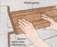 Рис. 4. Срежьте заднюю часть паза новой доски