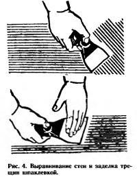 Рис. 4. Выравнивание стен и заделка трещин шпаклевкой
