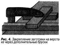 Рис. 4. Закрепление заготовки на верстаке через дополнительные бруски