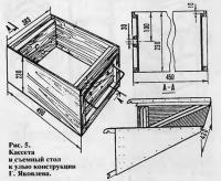 Рис. 5. Кассета и съемный стол к улью конструкции Г. Яковлева