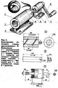 Рис. 5. Конструкция гибочного станка В. Ковалева