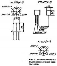 Рис. 5. Расположение выводов используемых транзисторов