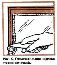 Рис. 6. Окончательная заделка стекла замазкой