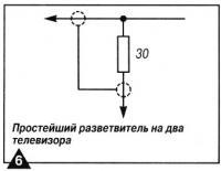 Рис. 6. Простейший разветвитель на два телевизора