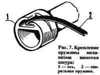 Рис. 7. Крепление пружины механизма намотки шнура