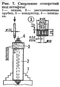 Рис. 7. Сверление отверстий под штифты