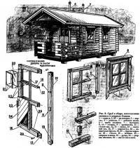 Рис. 8. Сруб в сборе, изготовление оконных и дверных блоков